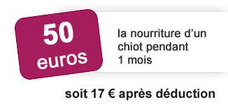 50 euros la nourriture d un chiot pendant 1 mois soit 17 euros après déduction